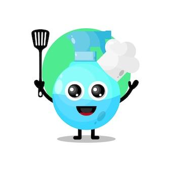 Mascotte de personnage mignon de pulvérisation de chef