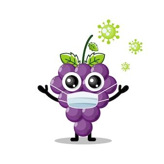 Mascotte de personnage mignon de raisin de masque de virus