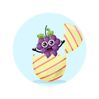 Mascotte de personnage mignon de raisin d'oeuf de pâques