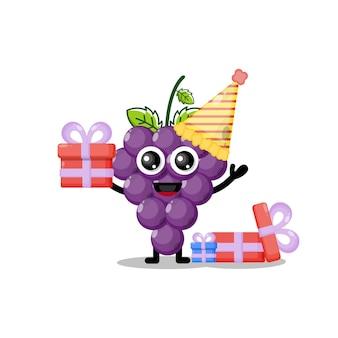Mascotte de personnage mignon de raisins d'anniversaire