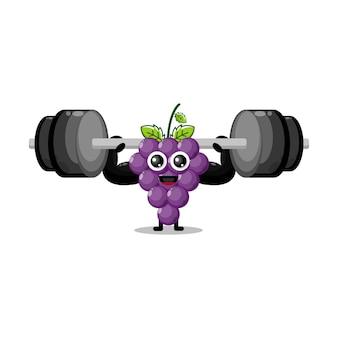 Mascotte de personnage mignon de remise en forme de fruits de raisin
