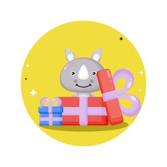 Mascotte de personnage mignon de rhinocéros de cadeau d'anniversaire