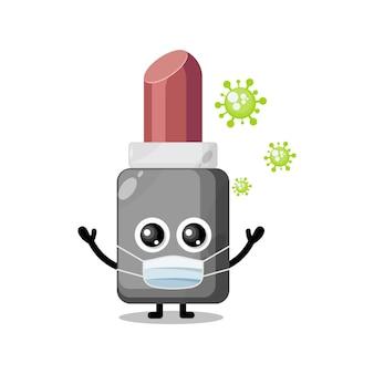 Mascotte de personnage mignon de rouge à lèvres de masque de virus