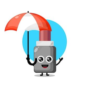 Mascotte de personnage mignon de rouge à lèvres parapluie
