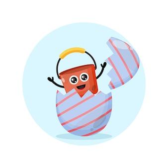 Mascotte de personnage mignon de seau d'oeufs de pâques