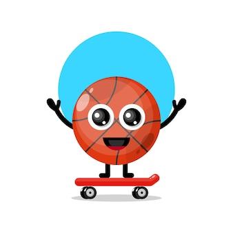 Mascotte de personnage mignon de skateboard de basket-ball