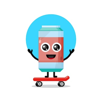 Mascotte de personnage mignon de skateboard de boisson gazeuse