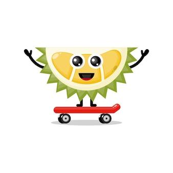 Mascotte de personnage mignon de skateboard durian