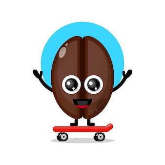 Mascotte de personnage mignon de skateboard de grains de café