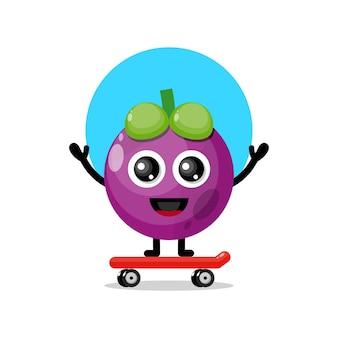 Mascotte de personnage mignon skateboard mangoustan