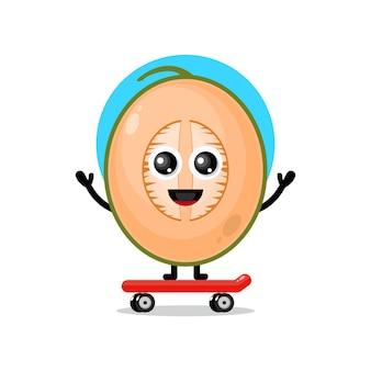 Mascotte de personnage mignon de skateboard melon