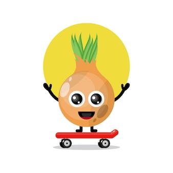 Mascotte de personnage mignon skateboard oignon