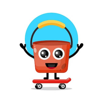 Mascotte de personnage mignon skateboard seau