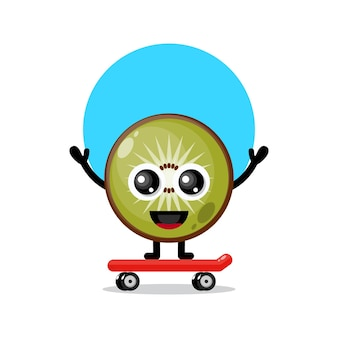 Mascotte de personnage mignon skateboarding kiwi
