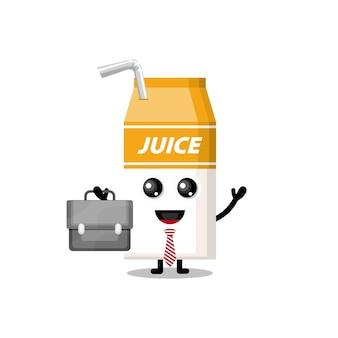 Mascotte de personnage mignon de travail de boîte de jus