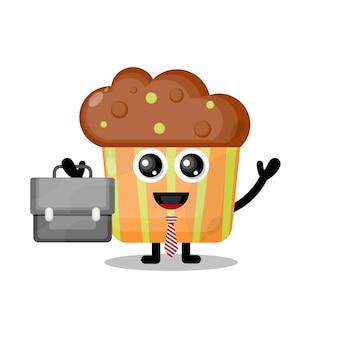 Mascotte de personnage mignon de travail de petit gâteau
