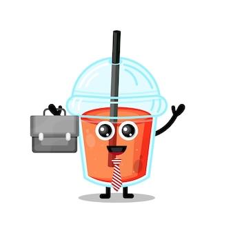 Mascotte de personnage mignon de travail de tasse de jus en plastique