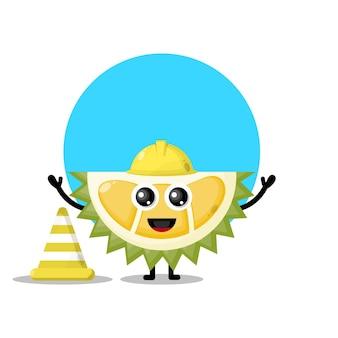 Mascotte De Personnage Mignon De Travailleur De La Construction De Durian Vecteur Premium