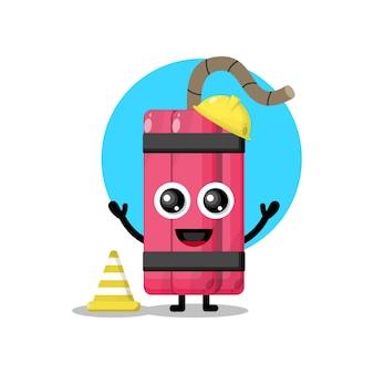 Mascotte de personnage mignon de travailleur de la construction de dynamite