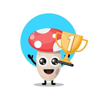 Mascotte de personnage mignon trophée champignon