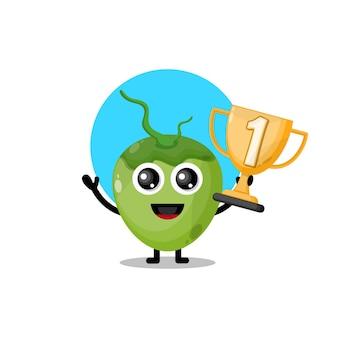 Mascotte de personnage mignon trophée de noix de coco
