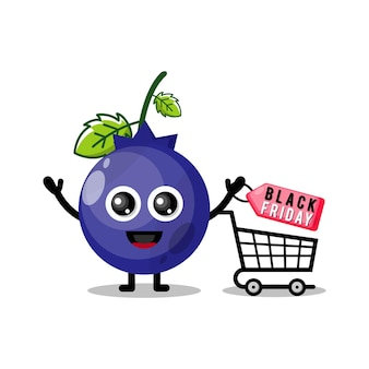 Mascotte de personnage mignon vendredi noir shopping myrtille