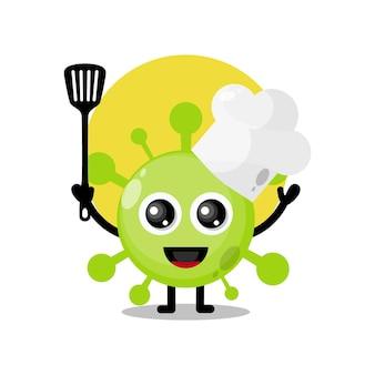 Mascotte de personnage mignon de virus de chef