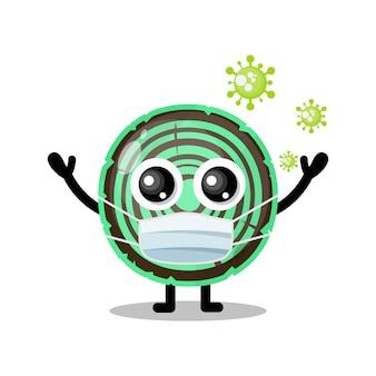 Mascotte de personnage mignon de virus de masque en bois