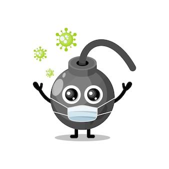 Mascotte de personnage mignon de virus de masque de bombe