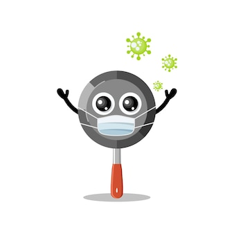 Mascotte de personnage mignon de virus de masque de casserole