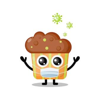 Mascotte de personnage mignon de virus de masque de gâteau de tasse