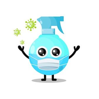 Mascotte de personnage mignon de virus de masque de pulvérisation