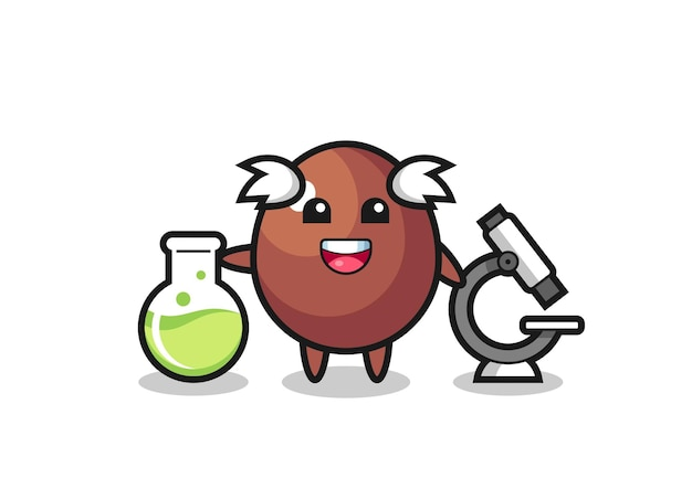 Mascotte de personnage d'oeuf en chocolat en tant que scientifique, design mignon