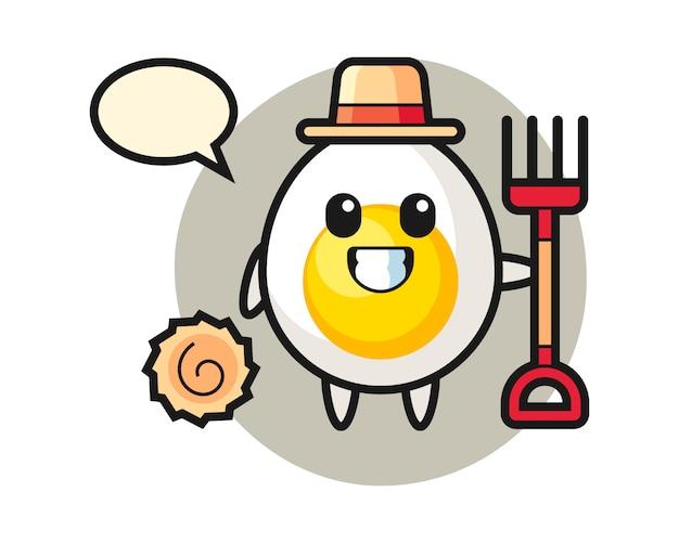 Mascotte de personnage d'oeuf à la coque en tant que fermier