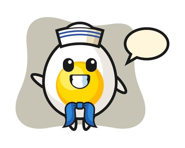 Mascotte de personnage d'oeuf à la coque en tant que marin