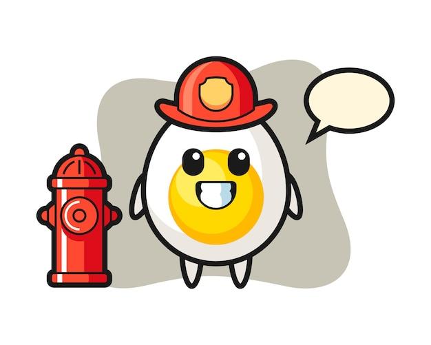 Mascotte de personnage d'oeuf à la coque en tant que pompier