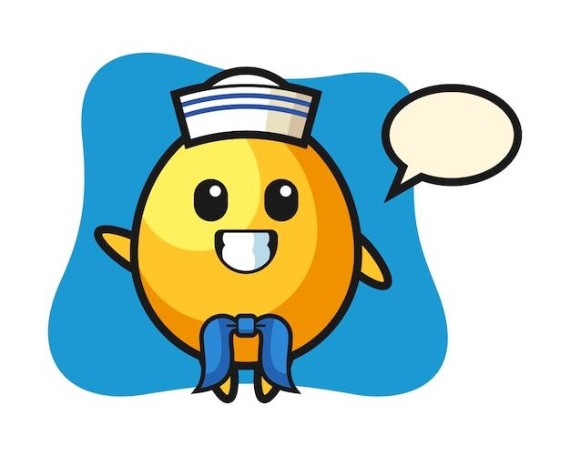 Mascotte de personnage d'oeuf d'or en tant que marin, design de style mignon