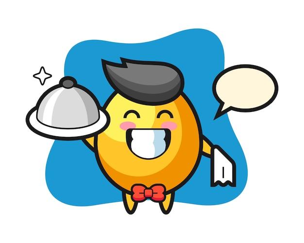 Mascotte de personnage d'oeuf d'or en tant que serveurs, design de style mignon