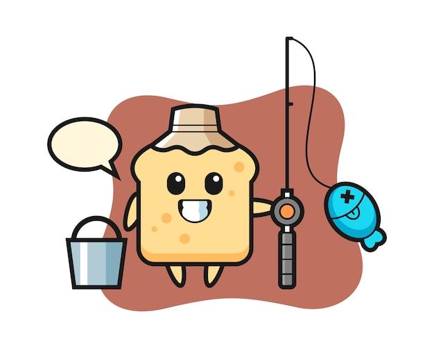 Mascotte de personnage de pain en tant que pêcheur