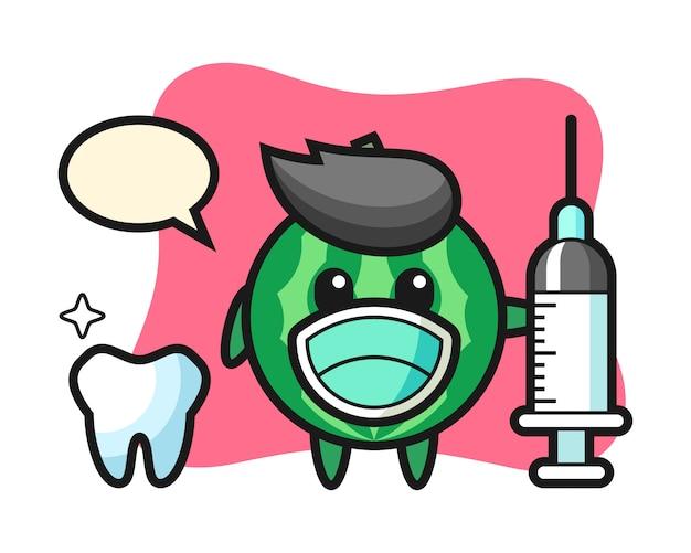 Mascotte de personnage de pastèque en dentiste