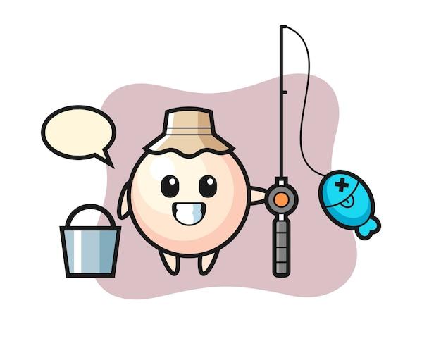 Mascotte de personnage de perle en tant que pêcheur