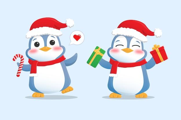 Mascotte de personnage de pingouin heureux avec bonnet et écharpe