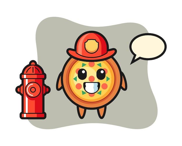 Mascotte de personnage de pizza en tant que pompier