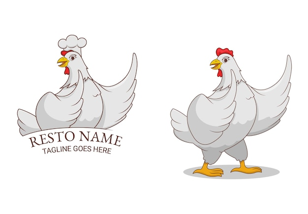Mascotte avec personnage de poulet blanc