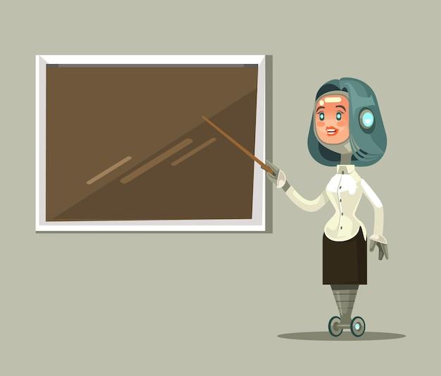 Mascotte de personnage de professeur femme robot