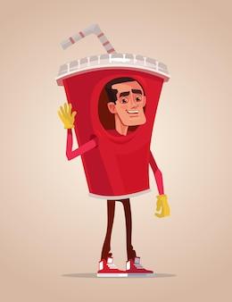 Mascotte de personnage de promoteur heureux homme souriant habillé en costume de soda