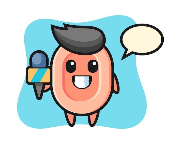 Mascotte de personnage de savon en tant que journaliste de presse, style mignon pour t-shirt, autocollant, élément de logo