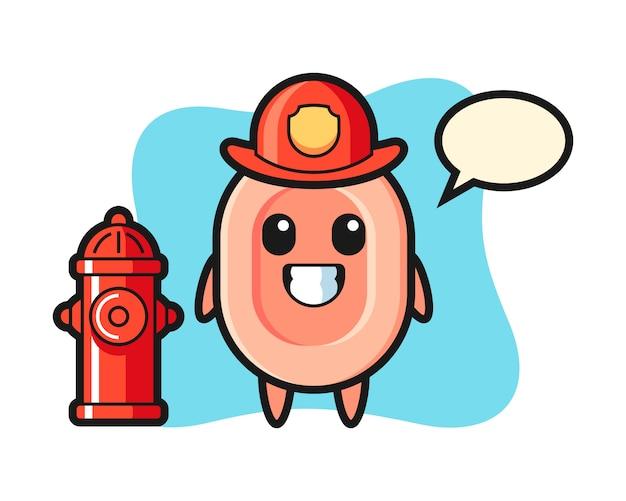 Mascotte de personnage de savon en tant que pompier, style mignon pour t-shirt, autocollant, élément de logo