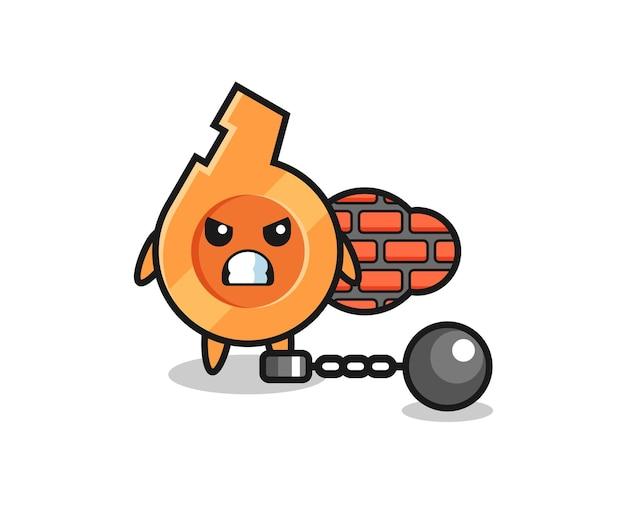Mascotte de personnage de sifflet en tant que prisonnier, design mignon