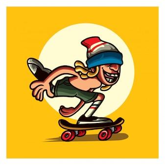 Mascotte de personnage skaterboy